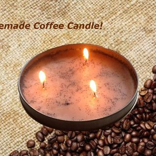 Homemade coffee candle instructions- can use new or fresh grounds. Upcycle those grounds and recycle old tea light candle wax :)