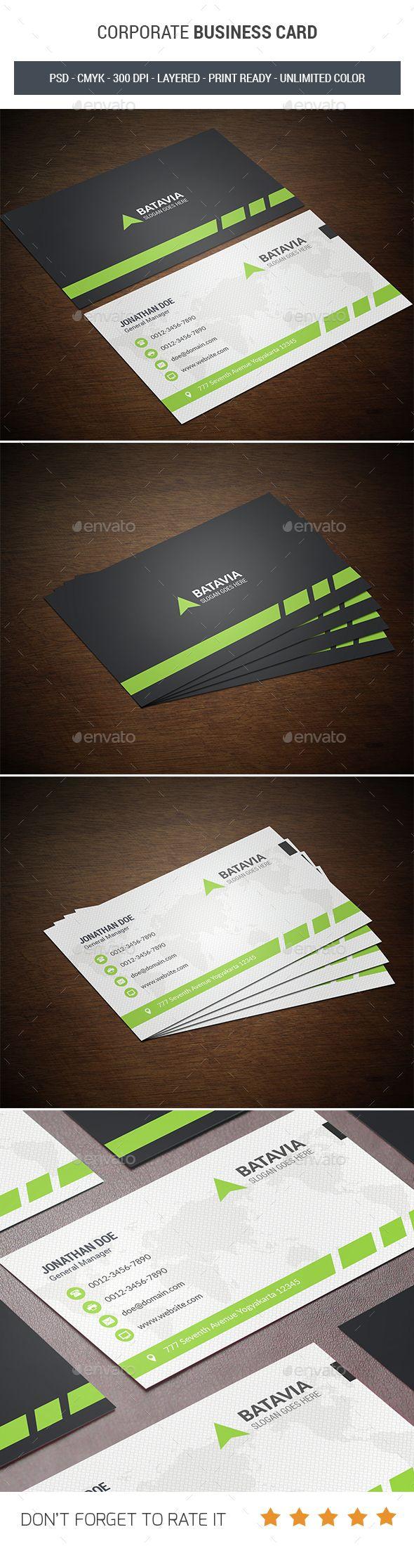 Corporate Business Card u2014 Photoshop PSD horizontal