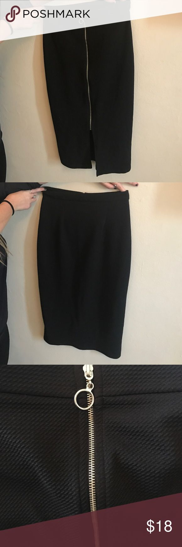 High waisted black pencil skirt High waisted long black pencil skirt! Never worn. Has a zipper down the back along with a slit maitai Skirts Pencil