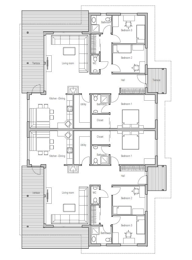 Simple Duplex House Design In Philippines: House Design Semi-detached-house-plan-CH121D 20