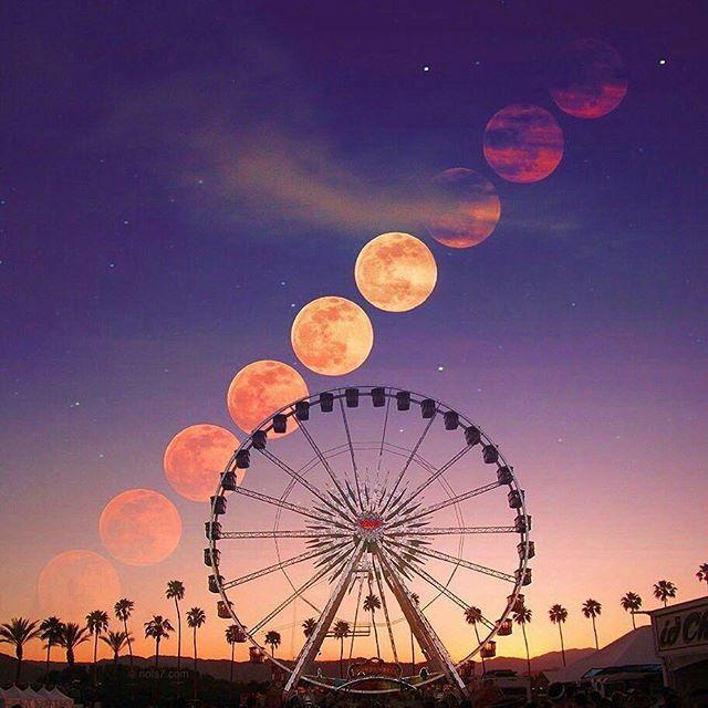 Goodnight Daydream Believers  ✨  ~  Amazing  photo by @nois7   ~  ~  ~  ~   #coachella  #festival #daydreamer #believer #dreams #stars #moon #carnival #dusk #twilight  #magical #healing #loveandlight #magical #wanderlust #love