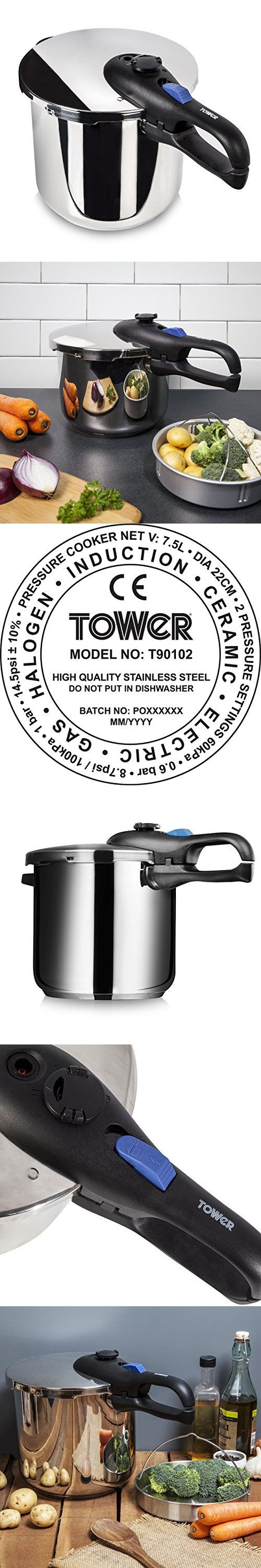 Tower Pressure Cooker, Stainless Steel, 7.5 L