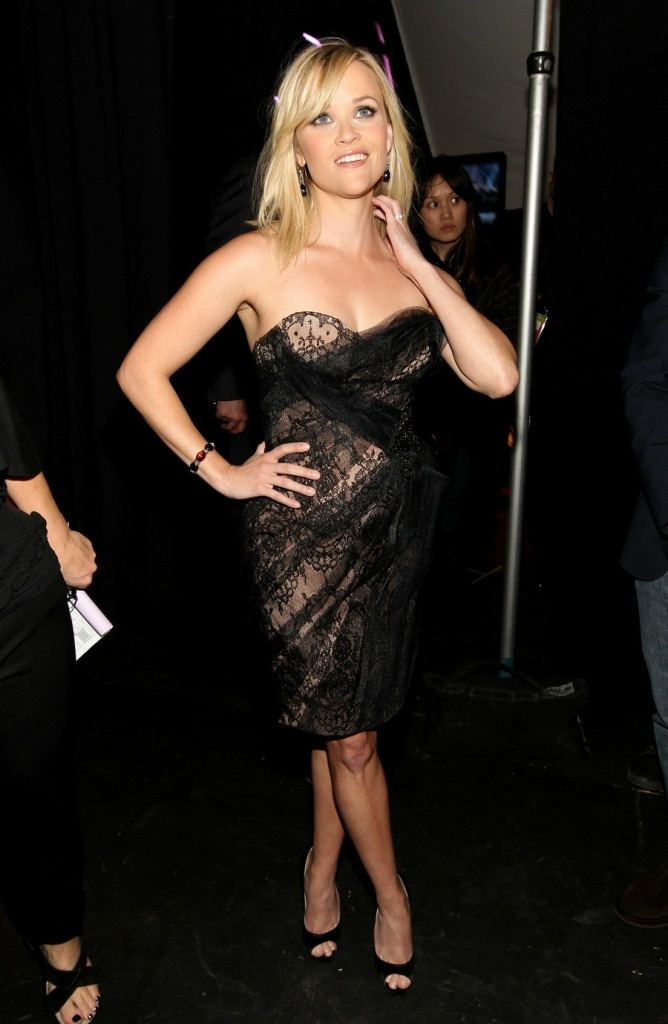 Reese Witherspoon in Marchesa, Brian Atwood Carla Pumps, and Neil Lane jewelry at the Country Music Awards 2011 in Las Vegas