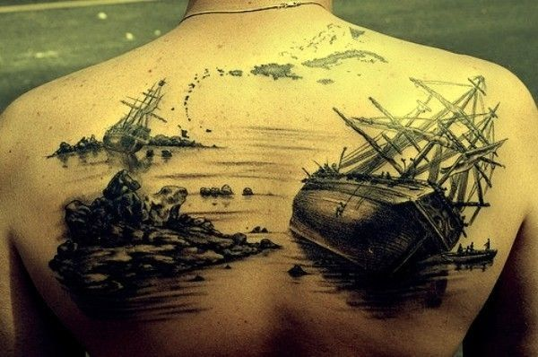 Awesome sunken ships tattoo on whole back