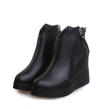 Stiefeltten mit erhöhtem Absatz Reißverschluss in Schwarz im zwanglosen Stil