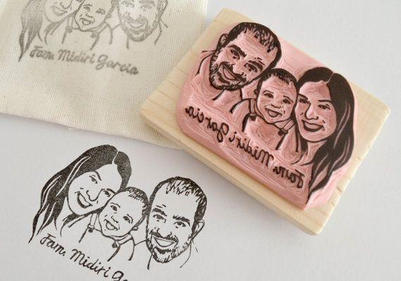 Timbro personalizzato con ritratto di famiglia  di PearlsToPigeons