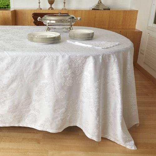 Mantelería adamascada. Mantelería con adamascado Jacquard de Flores que muestra las últimas tendencias en moda. La calidad del tejido y su estilo imperecedero, permite crear a medida cualquier pieza.