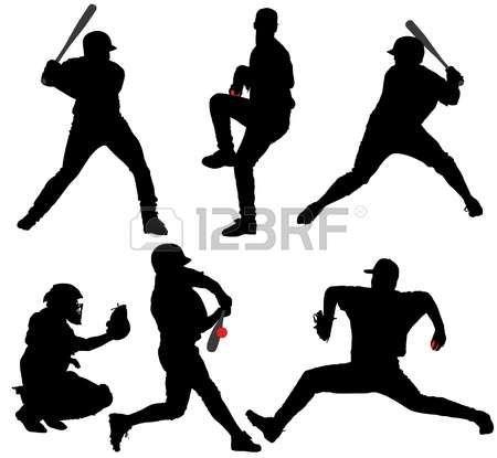 baseball: Silhouette de baseball sur fond blanc Illustration