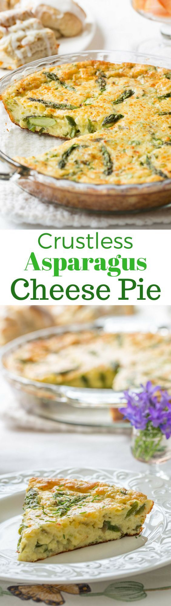 A wonderfully easy, and cheesy pie made with eggs, asparagus, and onions. A great brunch recipe served warm or at room temperature. www.savingdessert.com