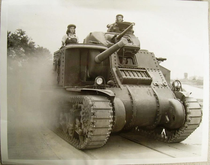 """Lady Drivers: Some 1000 women are working at the Aberdeen Proving Grounds in Maryland employed by the Army Ordnance Department in production of tanks such as the famed ""General Grant"" shown here."