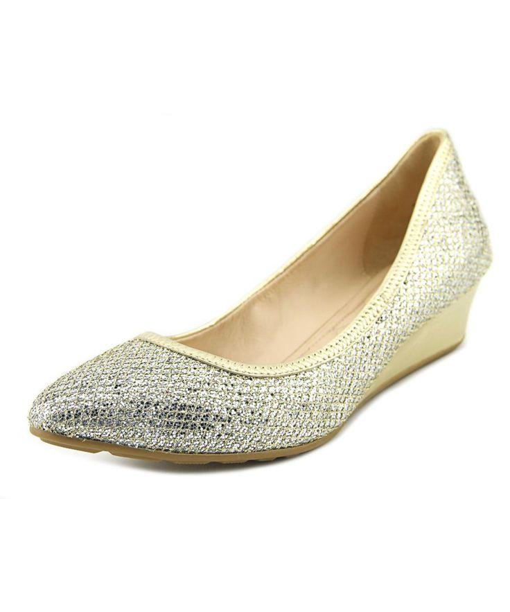 COLE HAAN | Cole Haan Tali Luxe Women  Open Toe Canvas Gold Wedge Heel #Shoes #Pumps & High Heels #COLE HAAN