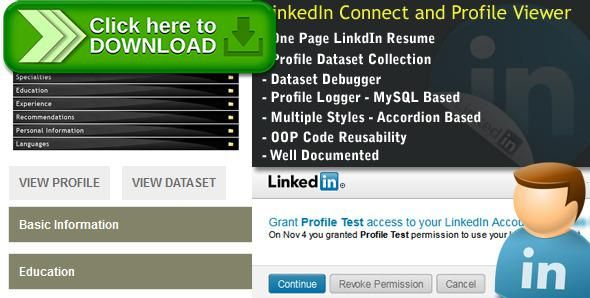 [ThemeForest]Free nulled download LinkedIn Connect + Profile Dataset+Profile Viewer from http://zippyfile.download/f.php?id=47832 Tags: ecommerce, linkedin, linkedin api, LinkedIn Connect, LinkedIN profile, LinkedIn Profile Importer, LinkedIn Profile Viewer
