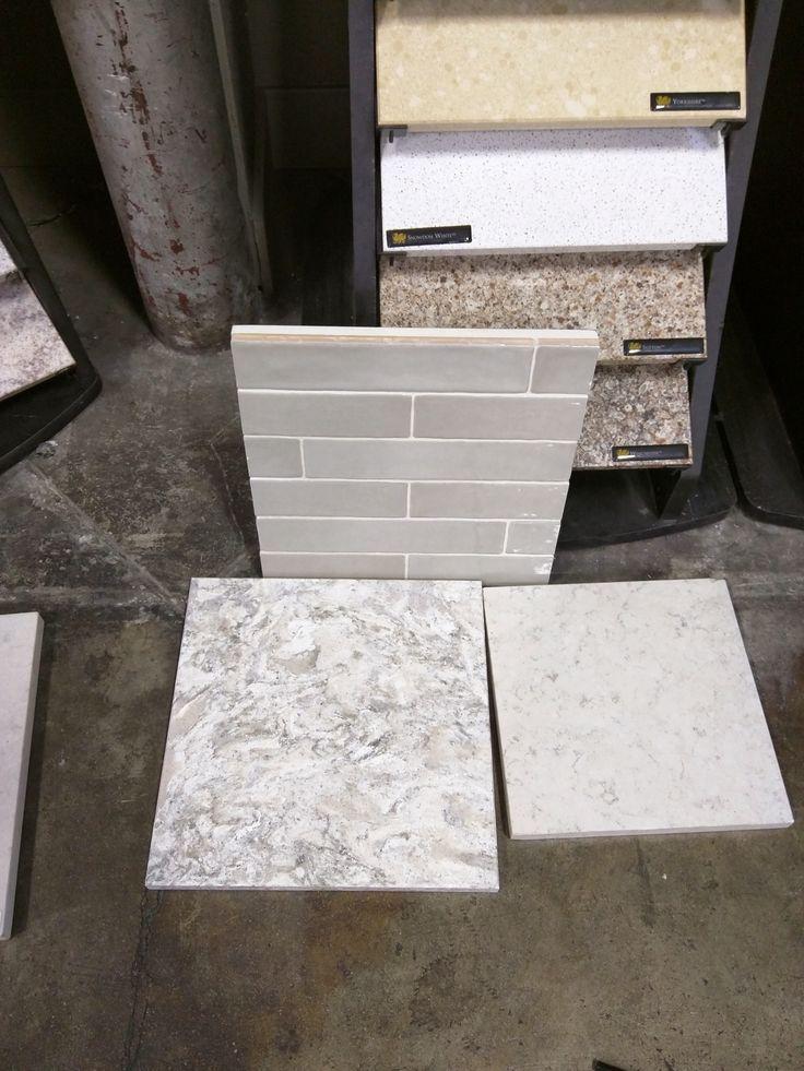 Agora Piastrella Sage Ceramic Backsplash, and Cabria Berwyn Quartz Slab on left, Hanstone Aspen Quartz Slab on right