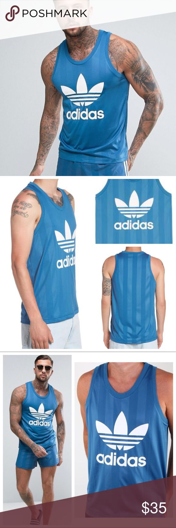 🌼 Adidas Trefoil Tank (Men M) * Adidas originals smooth woven jersey/trefoil graphic tank for men. Super comfortable polyester material that's silky smooth. Features a subtle tonal stripes of blue with the classic logo in white. Scoop neck, ribbed trim, sleeveless, true to size, regular trim fit.  * Easy to throw, casual street style, retro/vintage inspired; on trend style. * Size: Medium (Large available in separate listing) * Check out Adidas SnapBack hat  * Feel free to ask any questions…