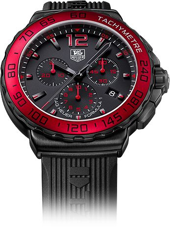 TAG HEUER FORMULA 1 MEN    Inspired by high-performance Formula 1 automotive technology, the TAG Heuer Formula 1 is the definitive casual watch - bold case, balanced colors and design, yet unpretentious, functional and super tough, with all the specific characteristics of a professional TAG Heuer sports watch.