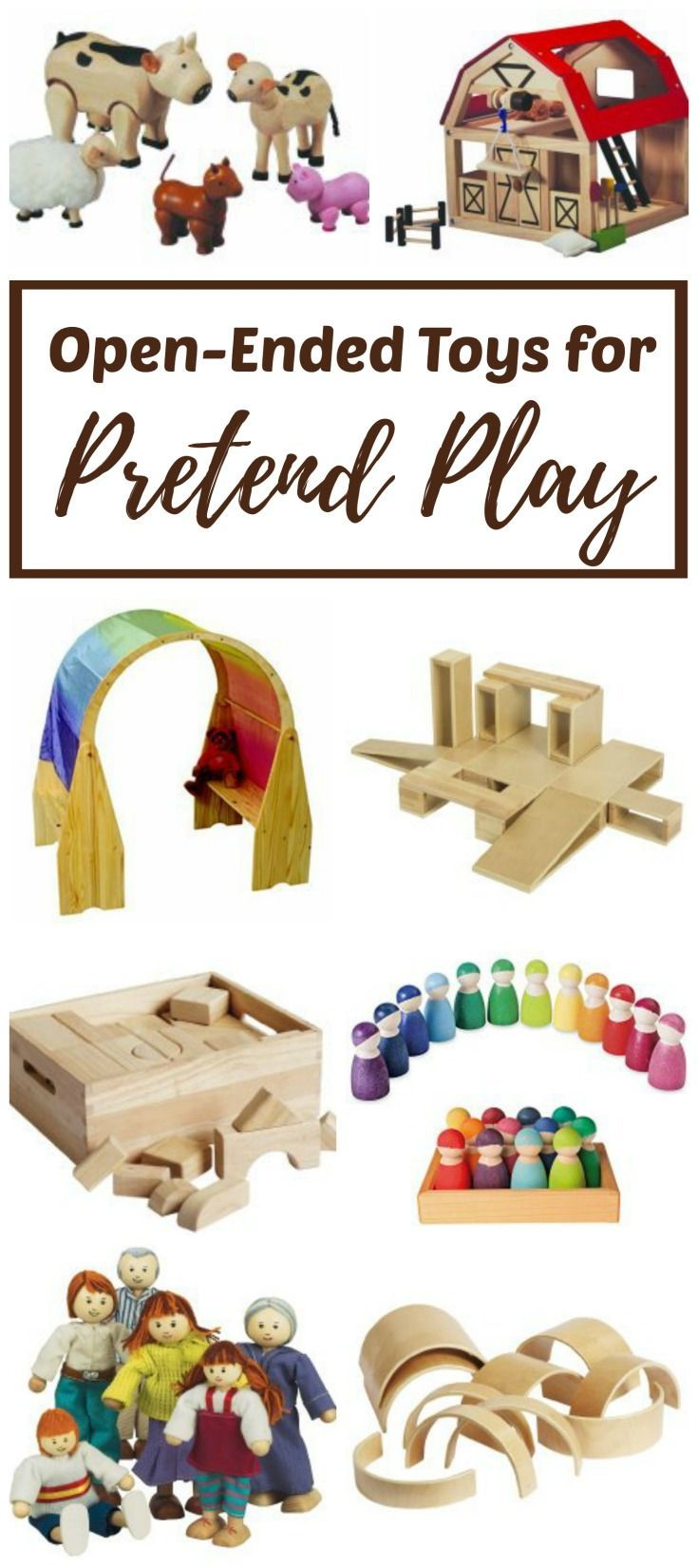 These 15 open-ended toys for imaginative, pretend or dramatic play are great for toddlers, preschoolers and elementary kids. Children begin to understand the world around them through movement and play. They need materials that meet their needs with each new imagining.