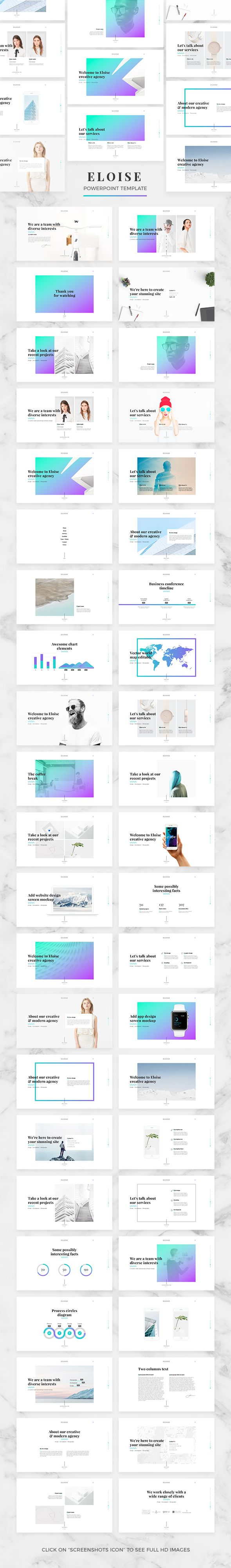 Eloise - Creative PowerPoint Template. Download: https://graphicriver.net/item/eloise-creative-powerpoint-template/19419277?ref=thanhdesign