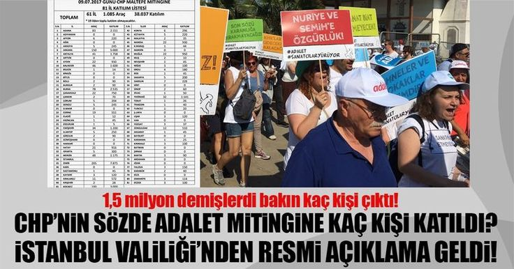 CHP'nin Maltepe etkinlik alanında düzenlenen sözde adalet mitingine katılanların sayısı ortaya çıktı. CHP, mitinge 1,5 milyon kişinin katıldığını iddia etmişti. İstanbul Valiliği'nden yapılan resmi açıklamaya göre ise katılım sadece 175 bin kişi ile sınırlı kaldı.