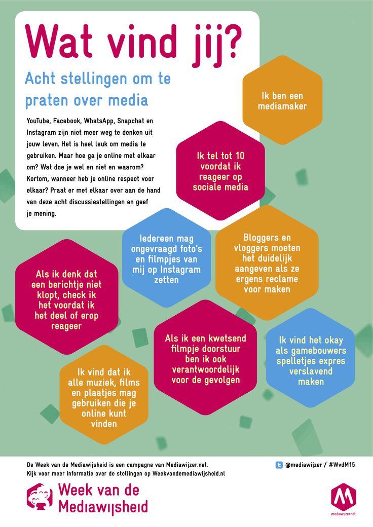 Acht stellingen om te praten over sociale media Eén van de manieren om aandacht te besteden aan de Week van de Mediawijsheid is door een discussie of groepsgesprek te organiseren in de klas. YouTube, Facebook, WhatsApp, Snapchat en Instagram zijn niet meer weg te denken uit het leven van kinderen. Het is heel leuk omLees verder