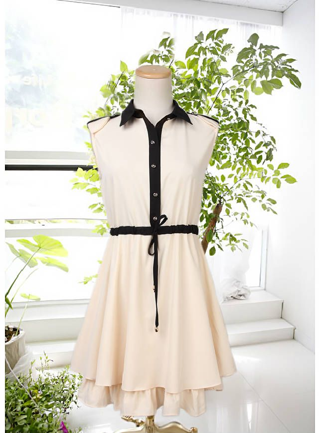 6309_ Kapper chiffon ermeløs sommer pendler temperament Slim Dress - Taobao
