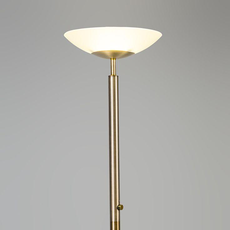 Stehleuchte Uplight Pisa Bronze: Sehr schöne Stehlampe in massiver Bauweise, bestehend aus einer runden Stange und einem Glasschirm. Das Glas strahlt Licht durch das eingebaute LED ab. Das warmweiße LED Leuchtmittel ist dimmbar und wird mittels eines Schalters mittig der Stange gedimmt. #bronze #herbst #innenbeleuchtung #wohnen #einrichten