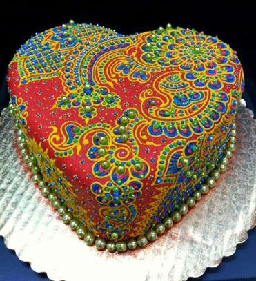 Amazing Indian Inspired heart cake food