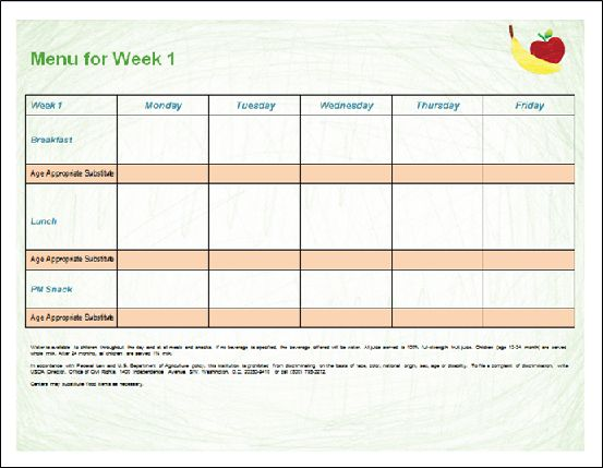 printable menu template for child care programs word document is