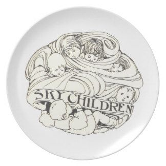 Sky Children Art Nouveau Deco Vintage Plate