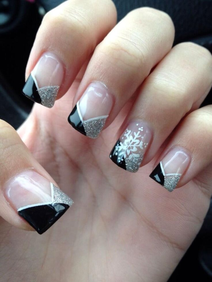 Black and silver chevron french tip prom nails | Nailed it ...