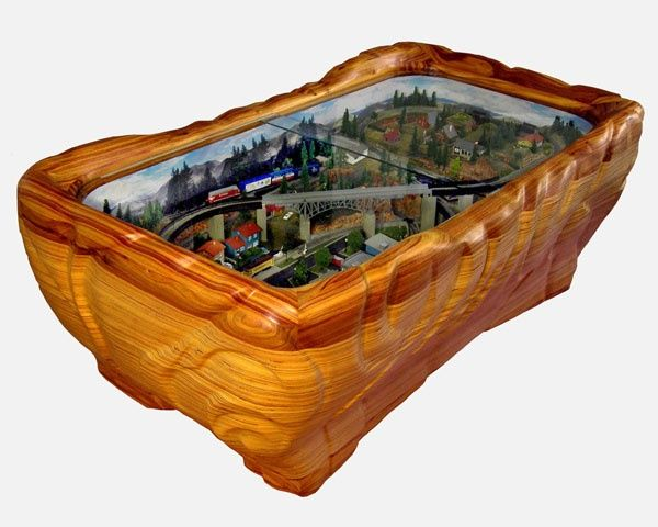 mancave model train | train coffee table | wood carving