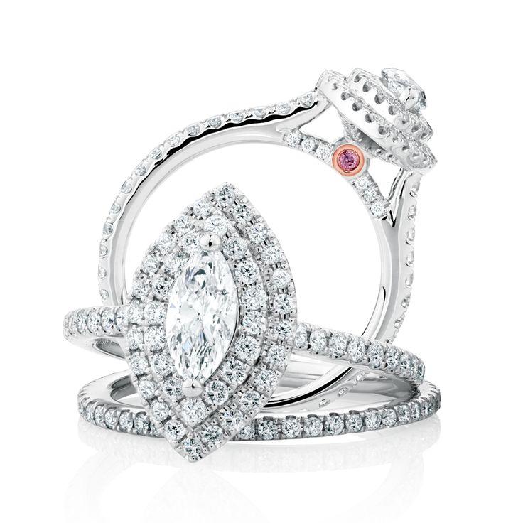 The Michael Hill Designer Bridal Collection | Marquise cut center diamond Arpeggio bridal set.