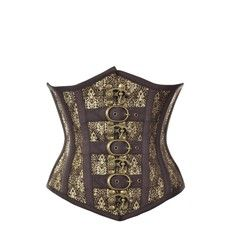 Brown Underbust Corset with Gold
