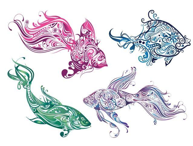 Виниловые наклейки для ванной «Сказочные рыбы» - купить наклейки с изображением ярких рыб.