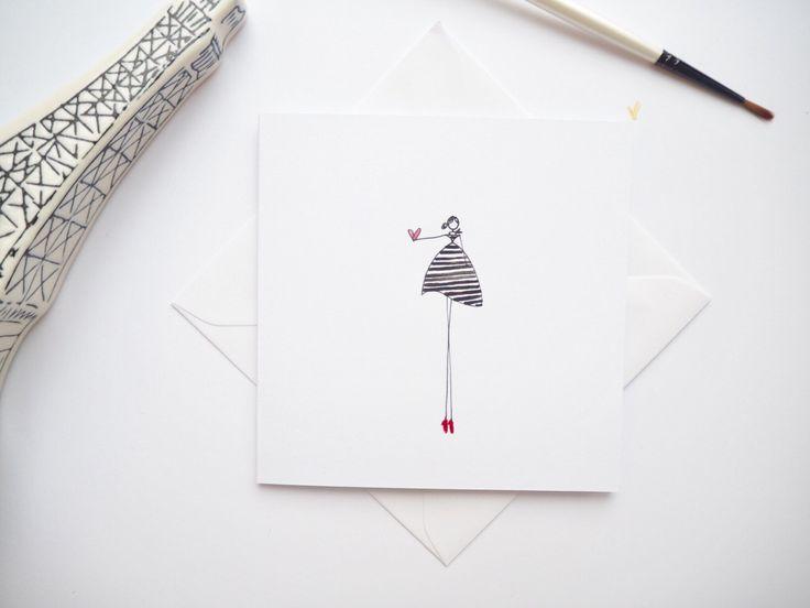Mademoiselle | Parisian lady card | je'taime card | happy girl cards