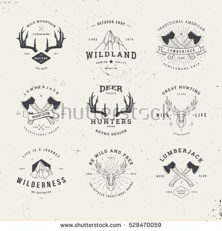 wildlife hunters, hipster logo set with deer antlers, axe and mountains
