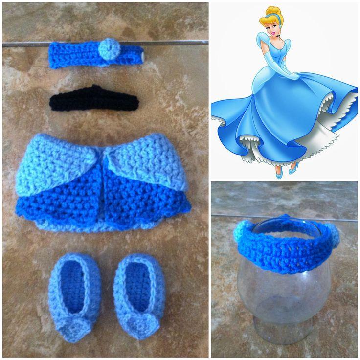 Crochet Disney's Cinderella Outfit headband diaper by Potterfreakg