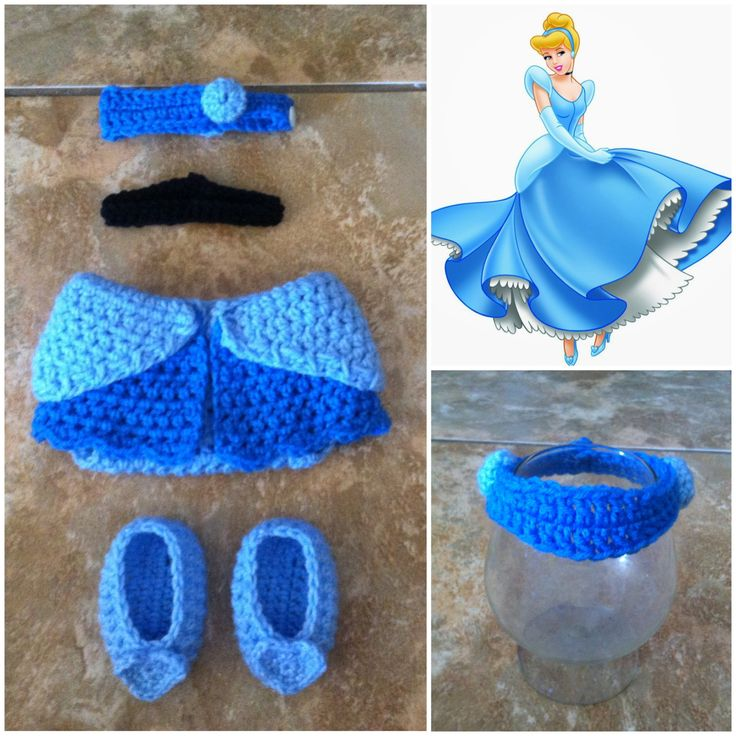 Crochet Disney's Cinderella Outfit headband diaper by Potterfreakg