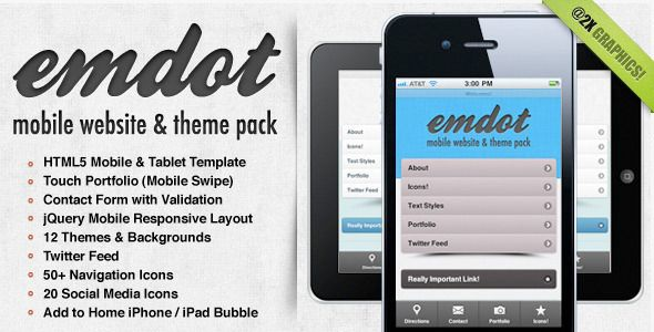 Emdot - Mobile Website & Template Pack . Introducing emdot, the solution to your personal or business mobile website needs. Built on jQuery mobile with a ton of great features, you'll have your new mobile website up in no time. Use one of the 12 included color themes as is, or easily customize everything to match your branding. With @2x
