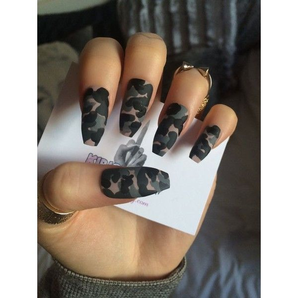 x Camo Klaws x Camouflage false nails long glue on nail art grey ❤ liked on Polyvore featuring beauty products, nail care and nail treatments