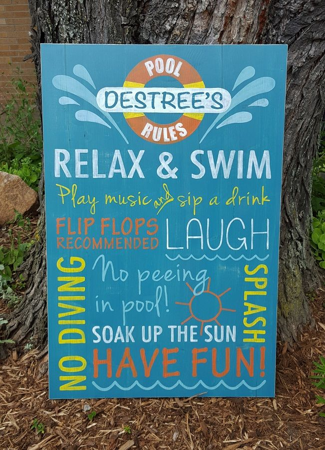 Pool Rules Sign, handpainted. See more at https://www.facebook.com/AMCreations79