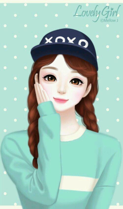 A Beautiful Cartoon Girl Face Pin oleh MARWA ...