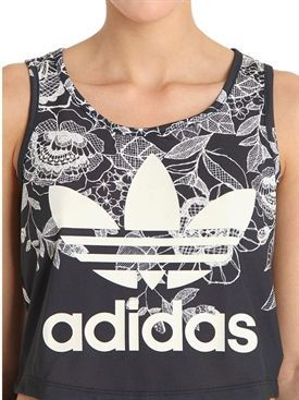 adidas originals by farm - women - training - flower printed jersey cropped tank top