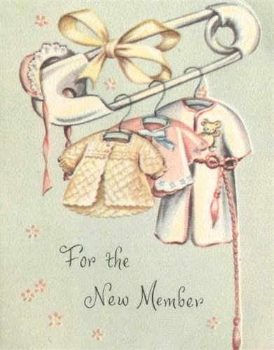 For The New Mother, vintage baby congratulations / gift card.
