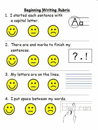 kindergarten writing rubric kid friendly