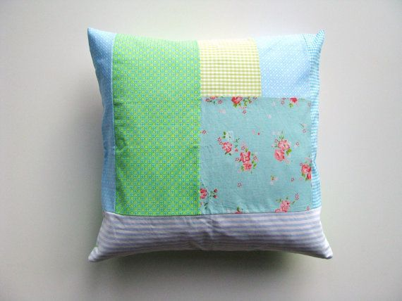 shabby home patchwork cushion cover- aqua, blue and green - pillow cover - 40x40 cm -16x16 inch - girls room - garden cottage decor