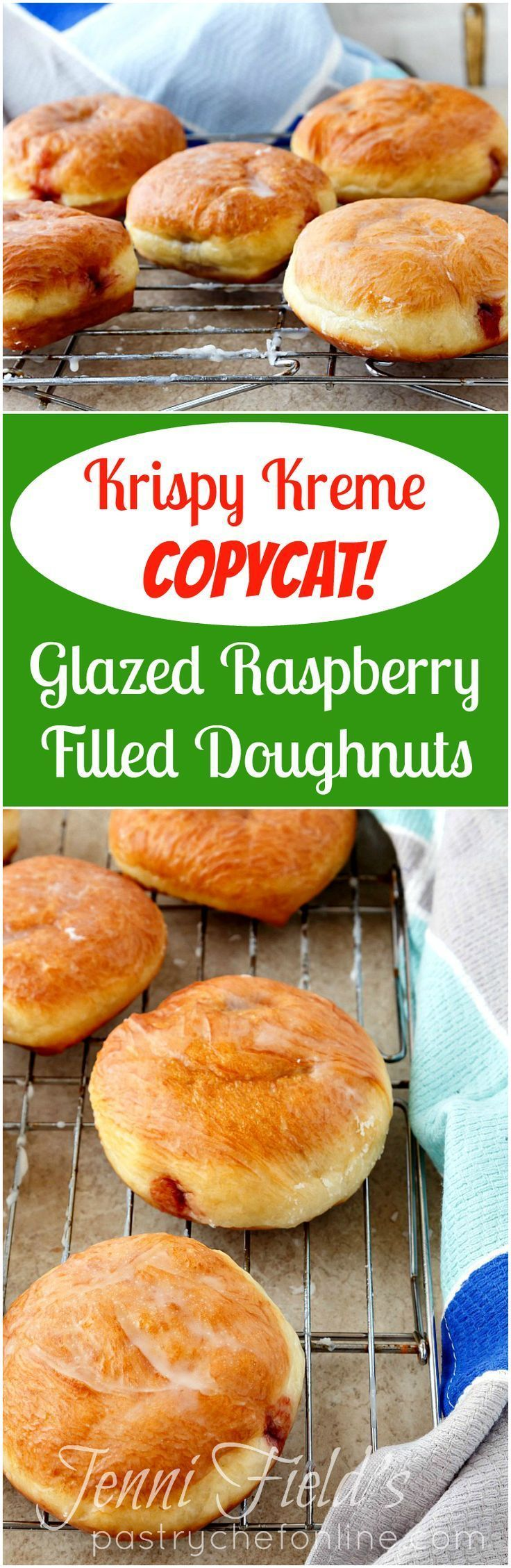 If you love a good Krispy Kreme doughnut, and you are a fan of glazed raspberry filled doughnuts, you are going to love my copycat Krispy Kreme doughnut recipe. Make your own glazed raspberry filled doughnuts at home, including a thin glaze that shatters