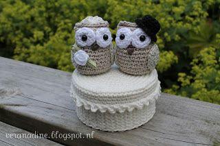 Cadeautje voor een bruiloft - Wedding present - crochet - owls
