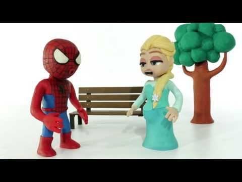 Frozen Elsa and Spiderman Has Twin Babies 💗 Frozen Play Doh Cartoon Stop...