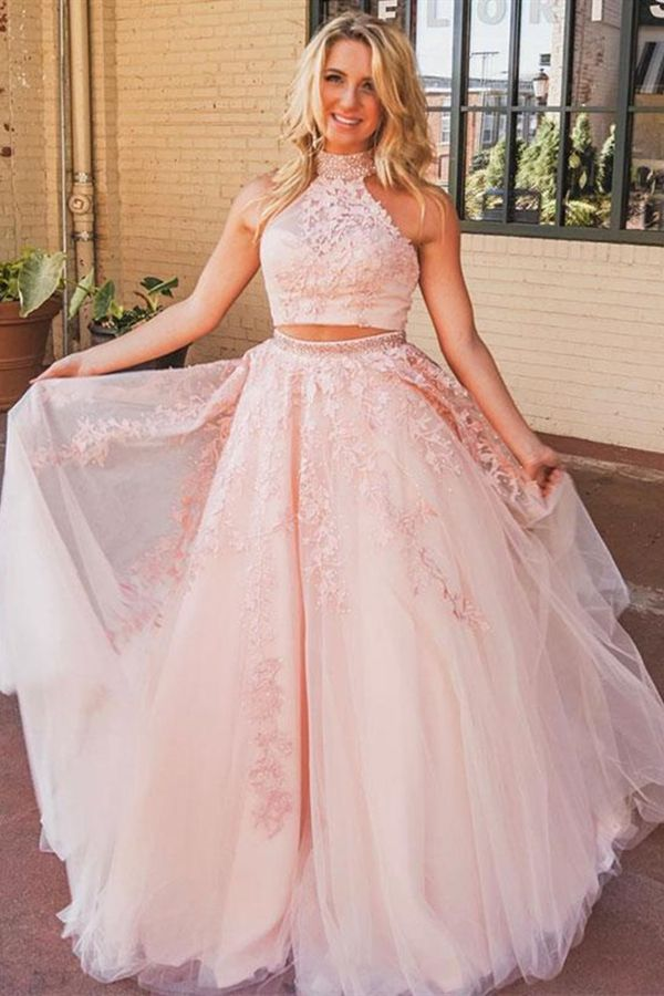 439733a066e Two Piece High Neck Open Back Long Coral Prom Dress with Appliques ...