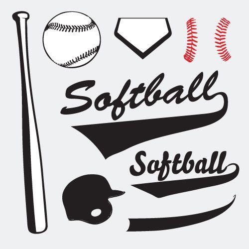 Softball vector set 02 clip art eps sports clip art and vectors pinterest softball clip for Softball vector free